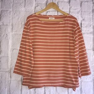 Madewell Thick Knit Striped Orange T Shirt Top